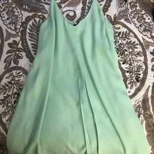 Short aqua dress with spaghetti straps